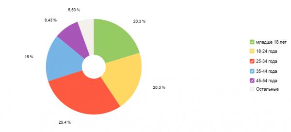 Возраст аудитории по данным Яндекс.Метрики